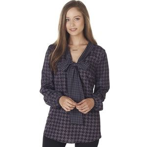 NWT Mud Pie Belle Bow Tunic Gray Houndstooth